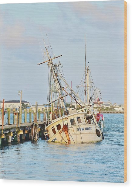 The New Hope Sunken Ship - Ocean City Maryland Wood Print