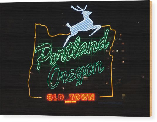 The New Portland Oregon Sign At Night Wood Print by DerekTXFactor Creative