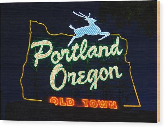 The New Portland Oregon Sign Wood Print by DerekTXFactor Creative