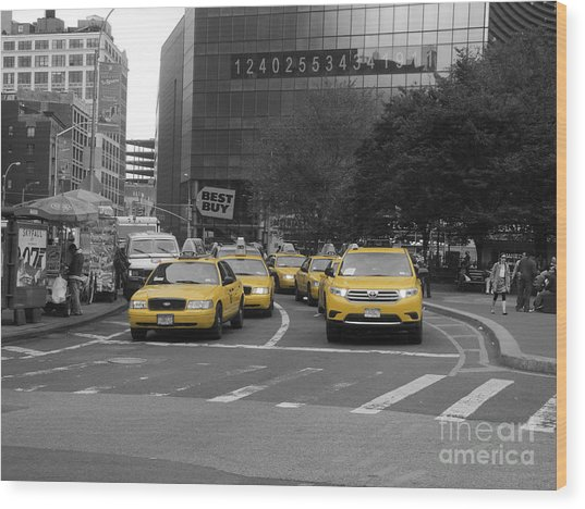 The New York Cabs Wood Print