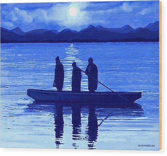 The Night Fishermen Wood Print