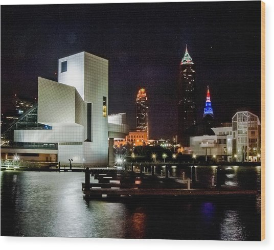 The Night Rocks In Cleveland Wood Print