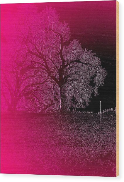 Wood Print featuring the digital art The Night by Visual Artist Frank Bonilla
