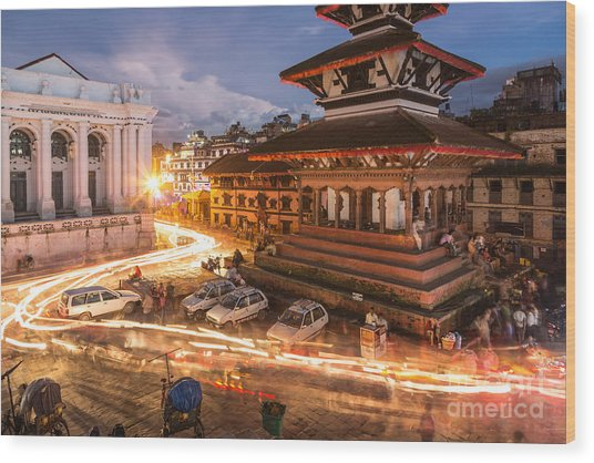 The Nights Of Stunning Kathmandu Wood Print