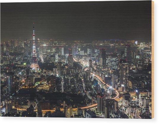The Nights Of Tokyo Wood Print