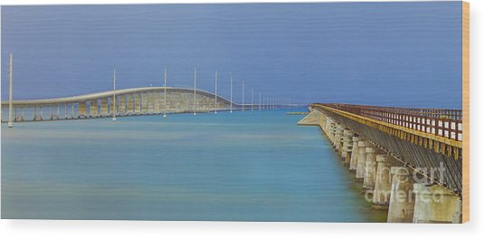 The Old- And New 7 Mile Bridge Wood Print