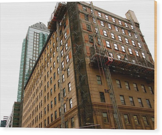 The Old And The New Building Wood Print by Jocelyne Choquette