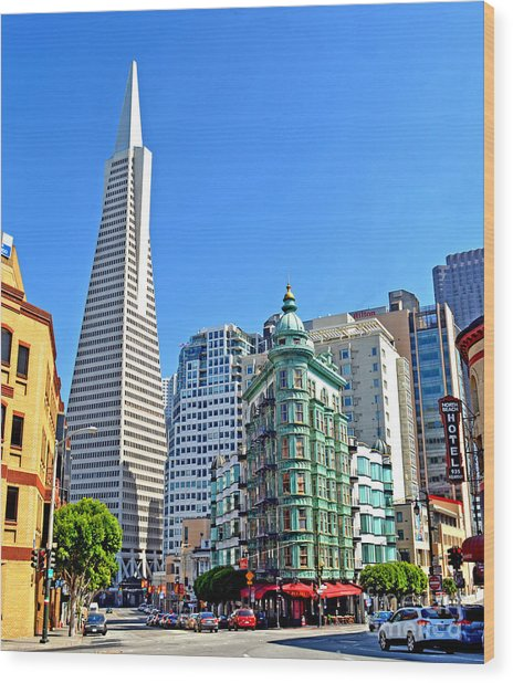 The Old And The New The Columbus Tower And The Transamerica Pyramid II Wood Print by Jim Fitzpatrick