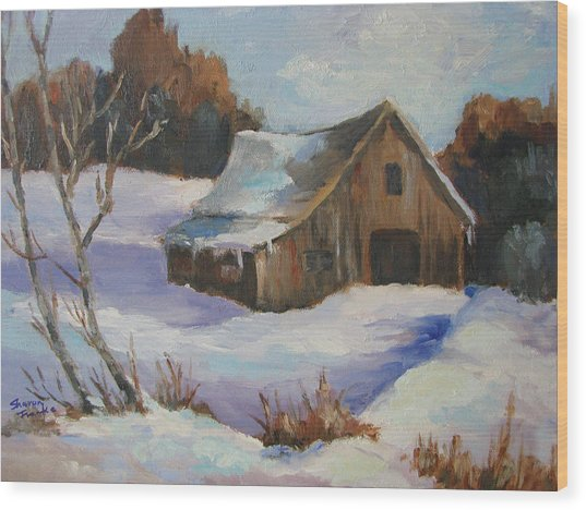 The Old Barn In Winter Wood Print