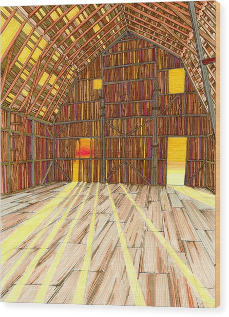 Wood Print featuring the drawing The Old Barn by Scott Kirby