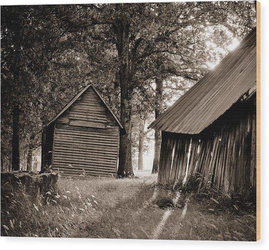 The Old Farm At Sunrise Wood Print