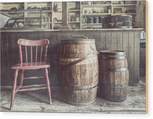The Old General Store - Red Chair And Barrels In This 19th Century Store Wood Print