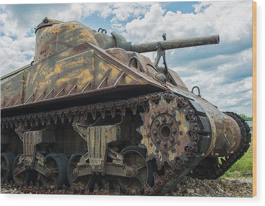 The Old Guardian-sherman Tank Wood Print