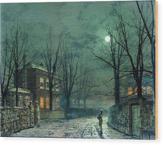 The Old Hall Under Moonlight Wood Print
