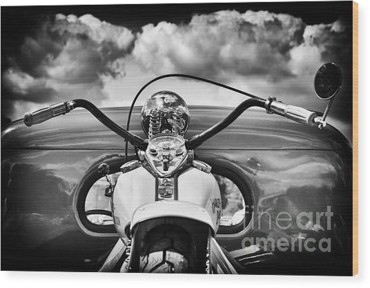 The Old Harley Monochrome Wood Print