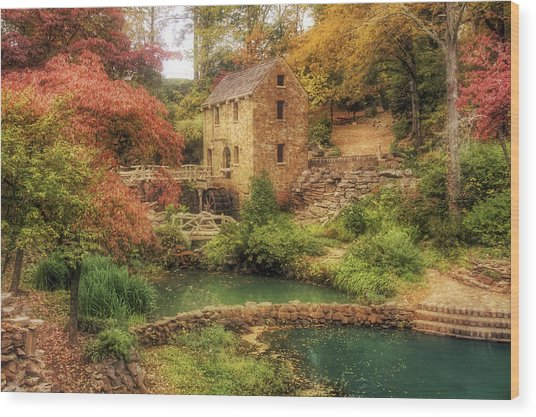 The Old Mill In Autumn - Arkansas - North Little Rock Wood Print