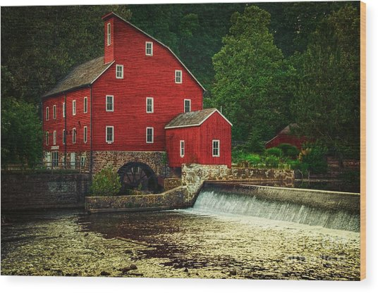 The Old Red Mill Wood Print