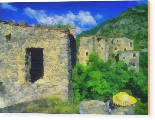The Old Village And The Yellow Hat Wood Print