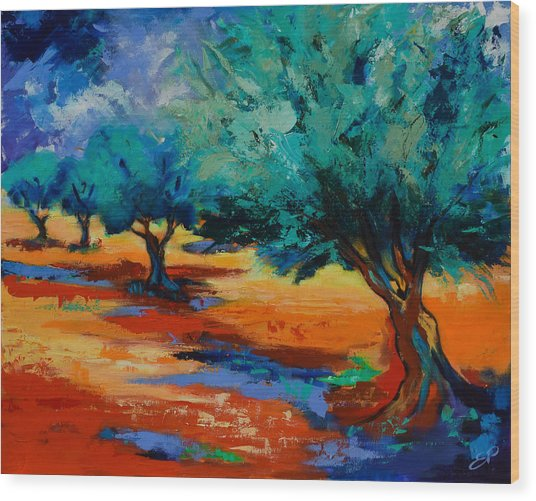 The Olive Trees Dance Wood Print