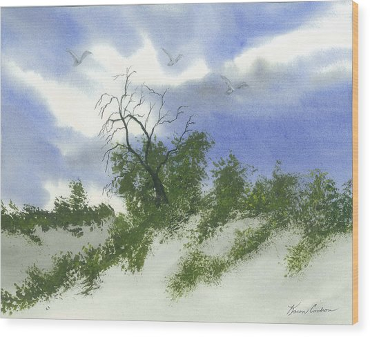 The One Tree Wood Print by Karen  Condron