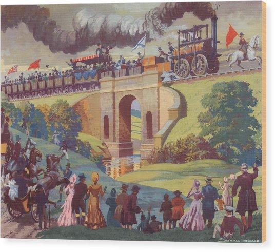The Opening Of The Stockton And Darlington Railway Macmillan Poster Wood Print