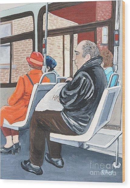 The Orange Coat On The 107 Bus Wood Print