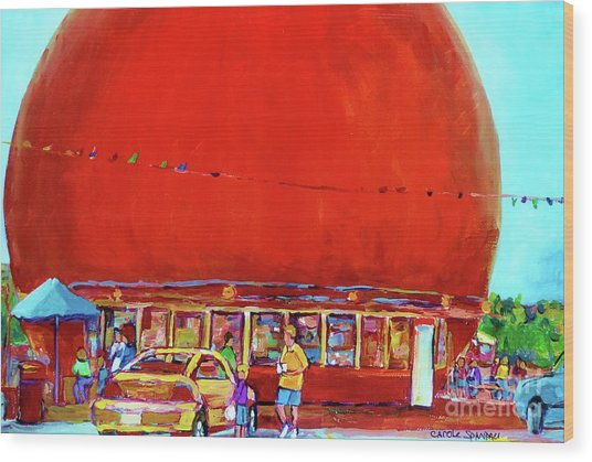 The Orange Julep Montreal Summer City Scene Wood Print