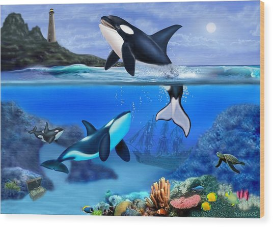 The Orca Family Wood Print