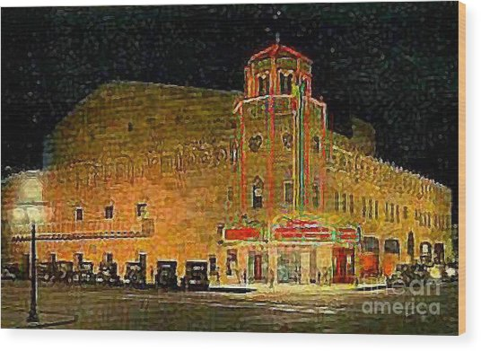The Orpheum Theatre At Night In Phoenix Az In 1932 Wood Print by Dwight Goss