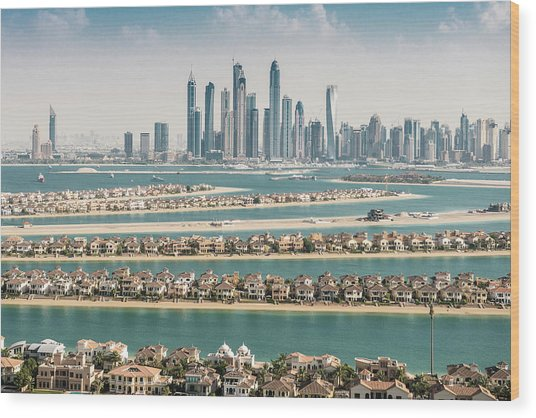 The Palm Jumeirah In Dubai With Skyline Wood Print by Franckreporter