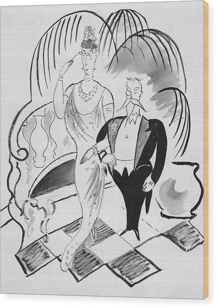 The Parents Of A Debutante At Her Coming Wood Print by Cecil Beaton