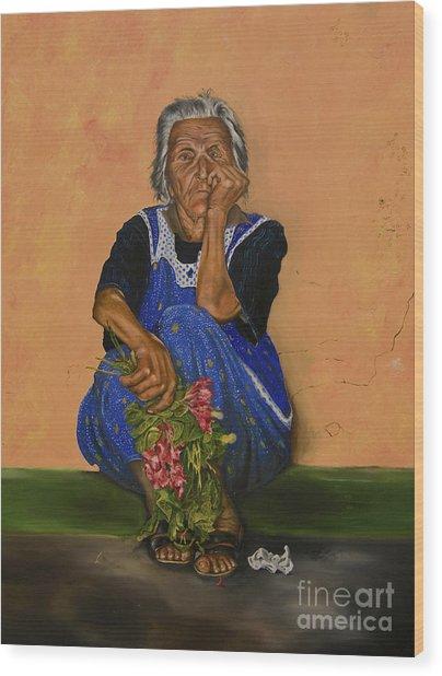 The Parga Flower Seller Wood Print