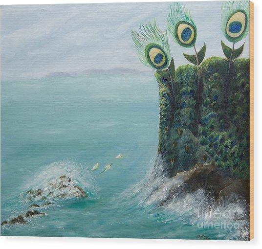 The Peacock Cliffs Wood Print