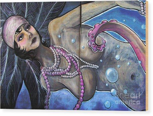 The Pearl Mermaid Wood Print