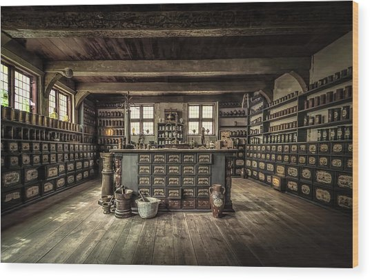 The Pharmacy Wood Print by Ole Moberg Steffensen