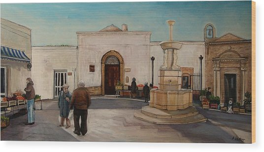 The Piazza Wood Print by Anne Parker