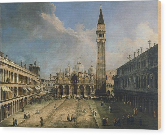 The Piazza San Marco In Venice Wood Print by Canaletto