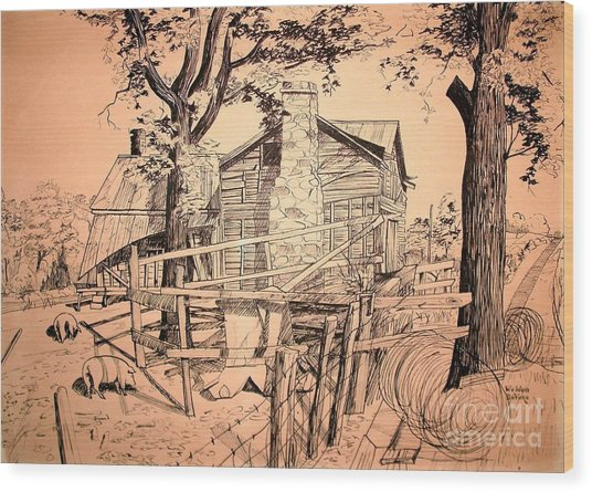 The Pig Sty Wood Print