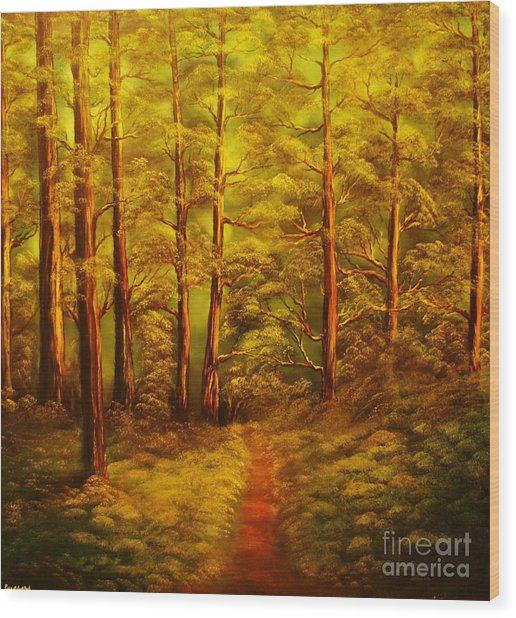 The Pine Tree Forest-original Sold-buy Giclee Print Nr 34 Of Limited Edition Of 40 Prints  Wood Print by Eddie Michael Beck