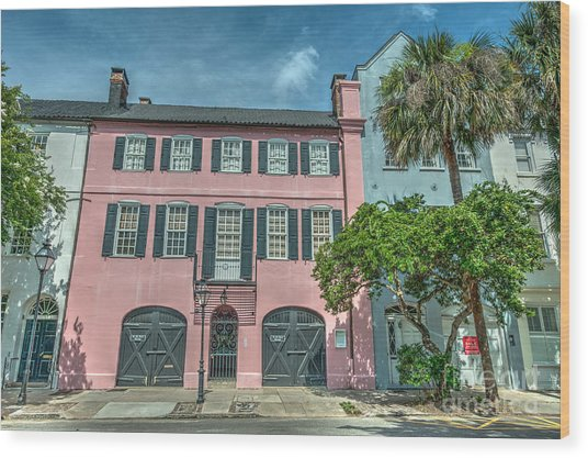 The Pink House Wood Print