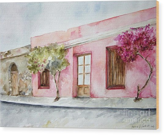 The Pink House In Colonia Wood Print