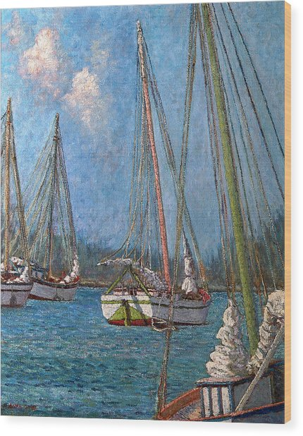 The Pink Mast Wood Print