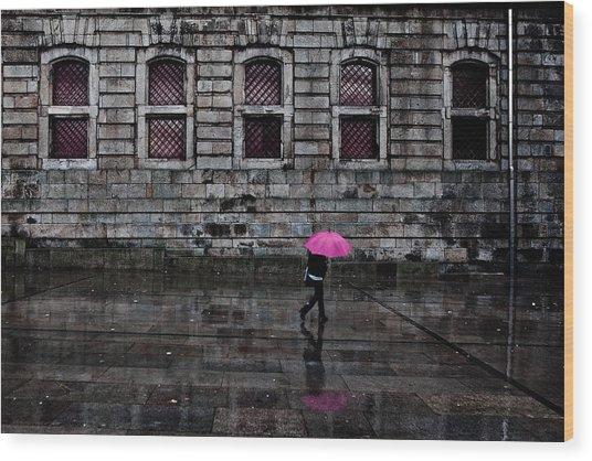 The Pink Umbrella Wood Print