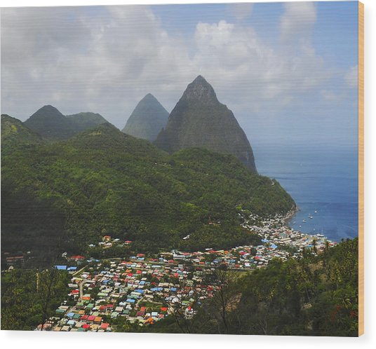 The Pitons And Soufriere Wood Print