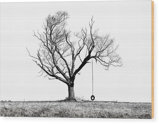 The Playmate - Old Tree And Tire Swing On An Open Field Wood Print