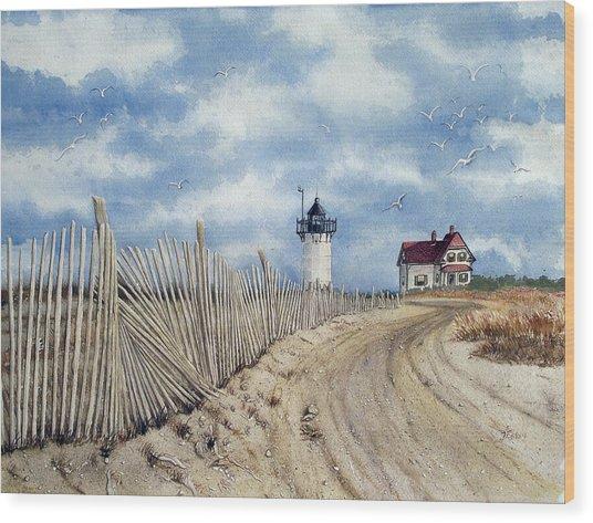 The Pole Line To Race Point Light Wood Print