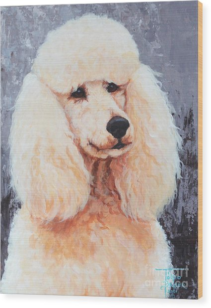 Attentive Poodle Wood Print