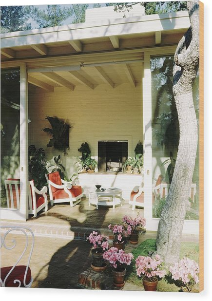 The Porch Of Mr. And Mrs. George L. Elkins Wood Print