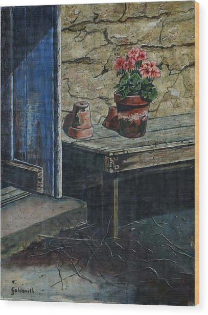 The Potting Bench Wood Print