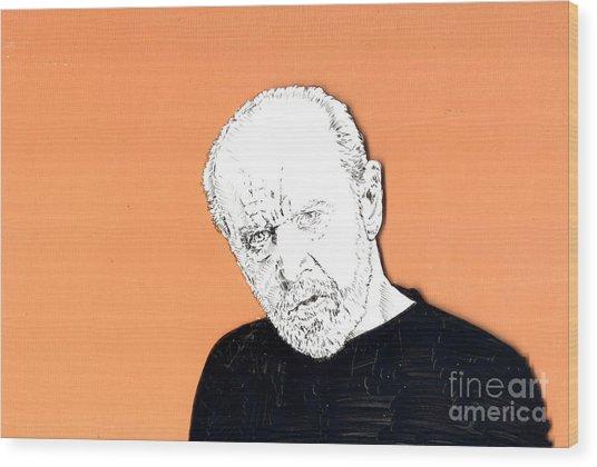 The Priest On Orange Wood Print